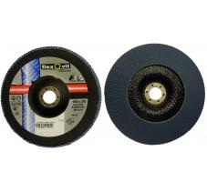 Диск лепестковый 180*22.2мм 120Z R822 конический Flexovit Industrial (Inox, Alu)