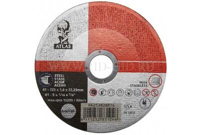 Диск отрезной 125*1.6*22.2мм BF41-A46T Atlas (Steel, Inox)